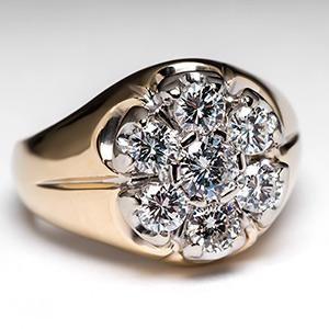 Mens Vintage Diamond Ring 14K Gold - EraGem