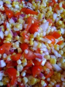 Corn, red onion and tomato salad