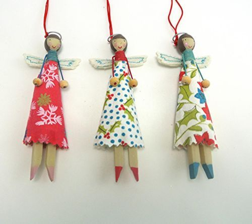 Gisela Graham Christmas Vintage Fairy Peg Dolls Resin & Fabric Tree Decorations (photo only, old link)