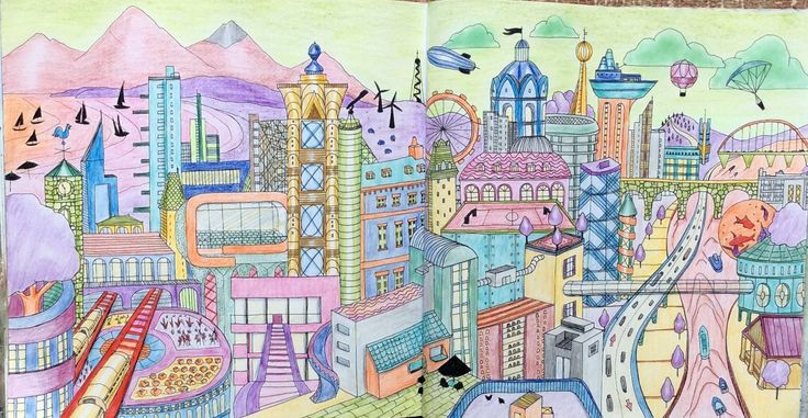 Dream Cities. An Imaginary City. Done in opposite colours. Coloured by Prue.