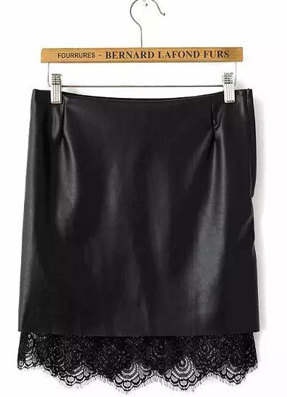 Black PU Leather Contrast Lace Skirt - Sheinside.com