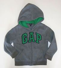 Baby Gap Outlet LOGO toddler boy gray green fleece zipup hoodie jacket 4T 4 5 5T