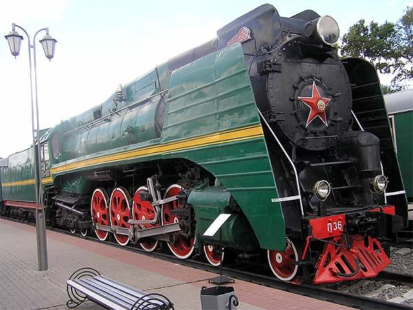 A P36 locomotive numbered 0001. The Richskaya (Moscow) Railway Museum