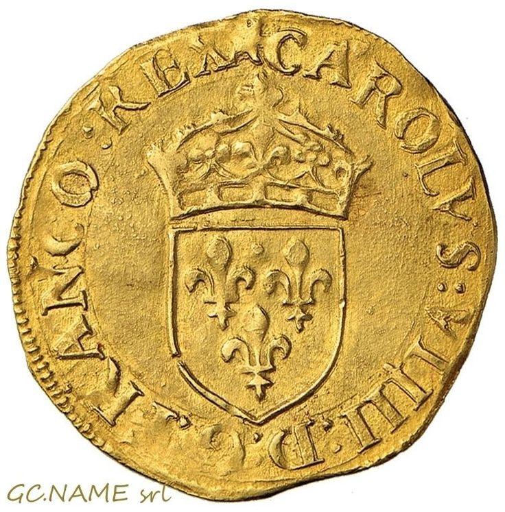 France: Charles IX,1560-1574.Ecu d'or au soleil 1565 I,Limoges. Gold Oro Or #459