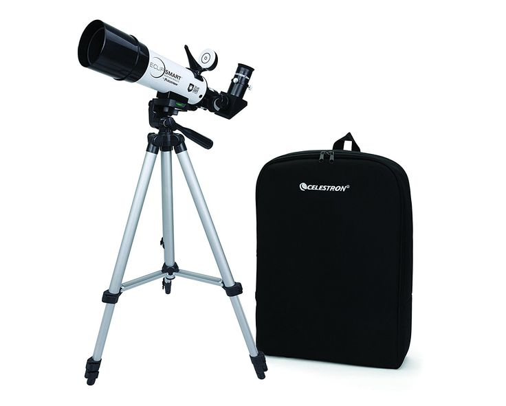 Amazon.com : Celestron EclipSmart ISO Certified, 2017 North American Total Solar Eclipse Refracting Telescope, White (22060) : Refracting Telescopes : Camera & Photo