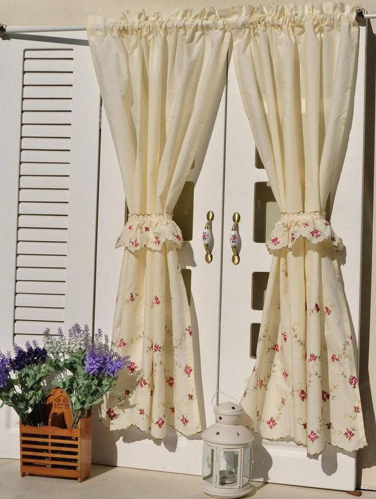 French Country Floral Embroidered Kitchen Curtains