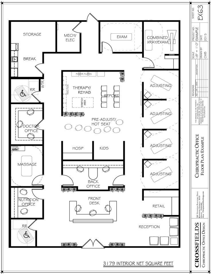 Semi Open Plan With Private Doctors Office Chiropractic Floor Plans Pinte