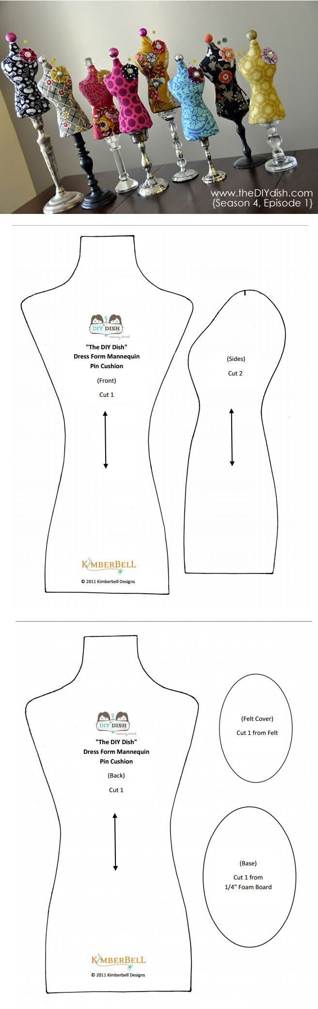Dress form pincushion pattern and tutorial.