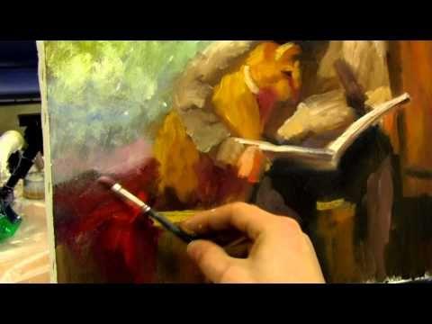 Живопись маслом .мальчик и кот . александр южаков художник - YouTube