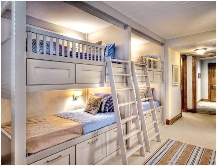 traditional bunkbeds for four with storage and two ladders in teenage kids bedroom design ideas