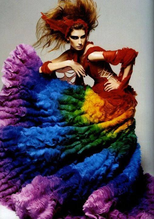 Fashion Photography by Steven Meisel for Vogue Italia. Dress: Alexander McQueen.