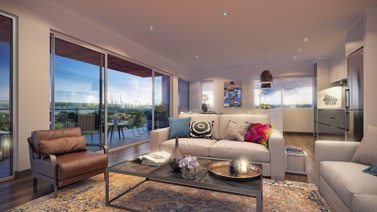 3D Render - photorealism - interiors - architecture - apartment - modern - living room