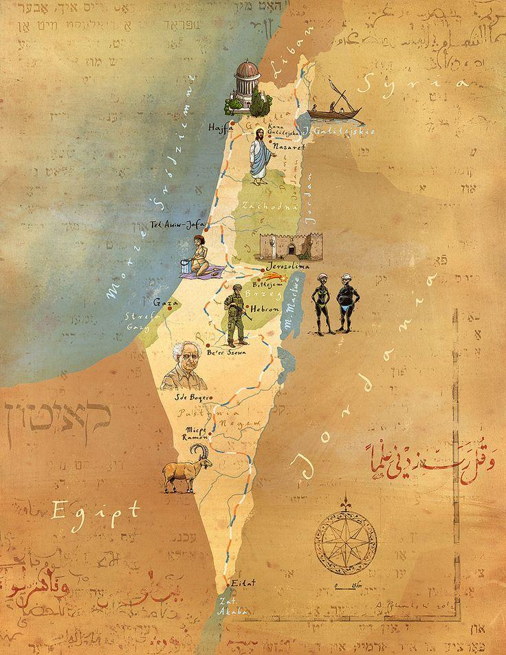 Israel and Palestine map by Adam Pkalski
