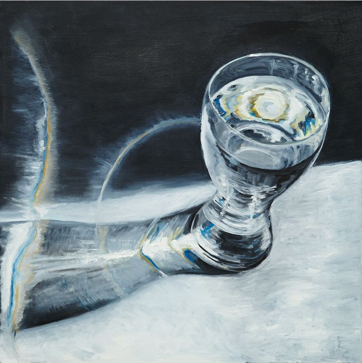 Glass of the water in the light, #oil #painting #glass #water #reflection #effect #light #stilllife #shadow #drink