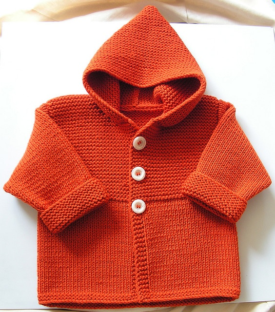 Knit Child's Duffle cardigan sweater hoodie coat by Phildar Design Team.