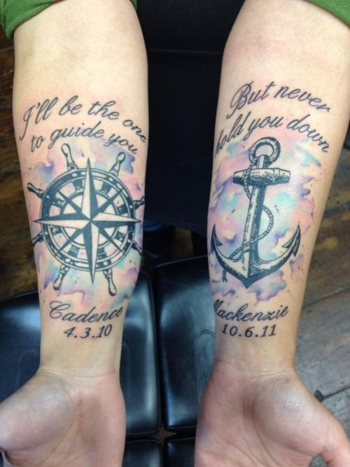 Watercolor Forearm Tattoo Design. Really love the anchor with the watercolor behind it! Couples, with different sayings