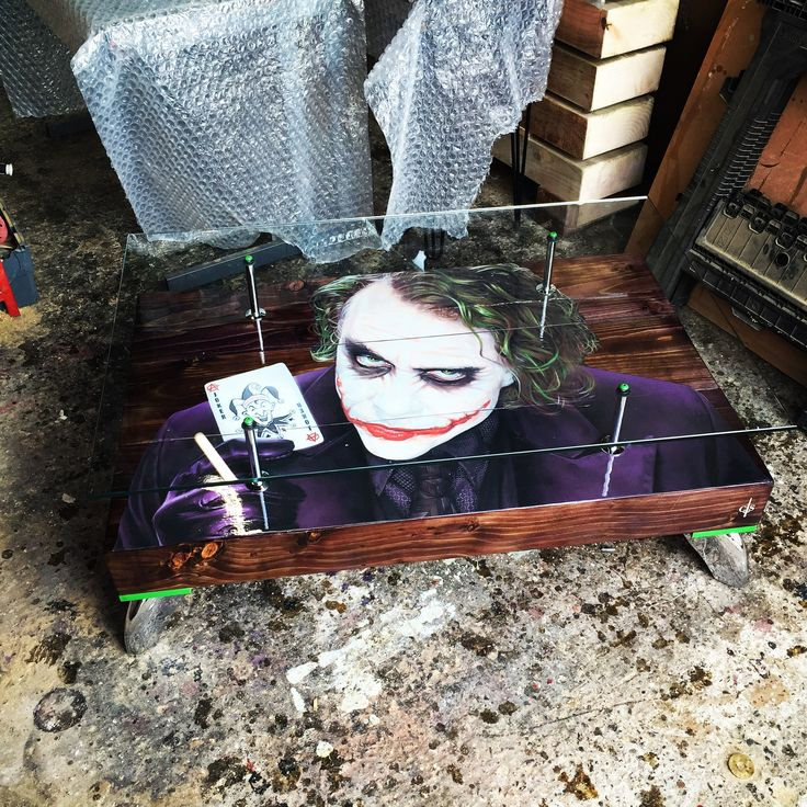 """Hand Built Joker """"Playing Card Coffee Table with glass top. Purple woodstain, chrome fixtures and fittings. A real showstopper!"""