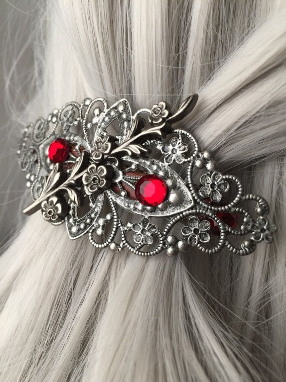 Silver Hair Clips For Women  Silver Hair Clip by ArcanumByAerrowae