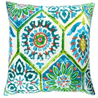 Artisan Pillows Outdoor 18-inch Lime Green and Blue Modern Abstract Geometric Caribbean Beach Style Throw Pillow (Set of 2)