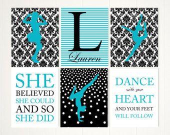 Les filles wall art, art mural jazz danse, art mural danseur, art mural ballerine, décor de salle de danse, art source d'inspiration pour les filles, ensemble de 6 exemplaires