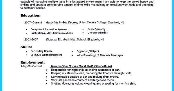 Outstanding Details You Must Put In Your Awesome Bartending Resume - bartending resume skills
