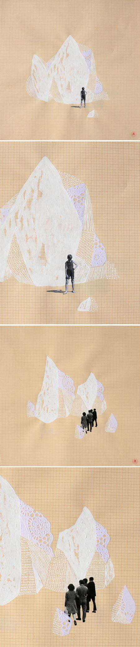 """Spanish artist Raúl Lázaro, """"insulario"""" series, collage"""