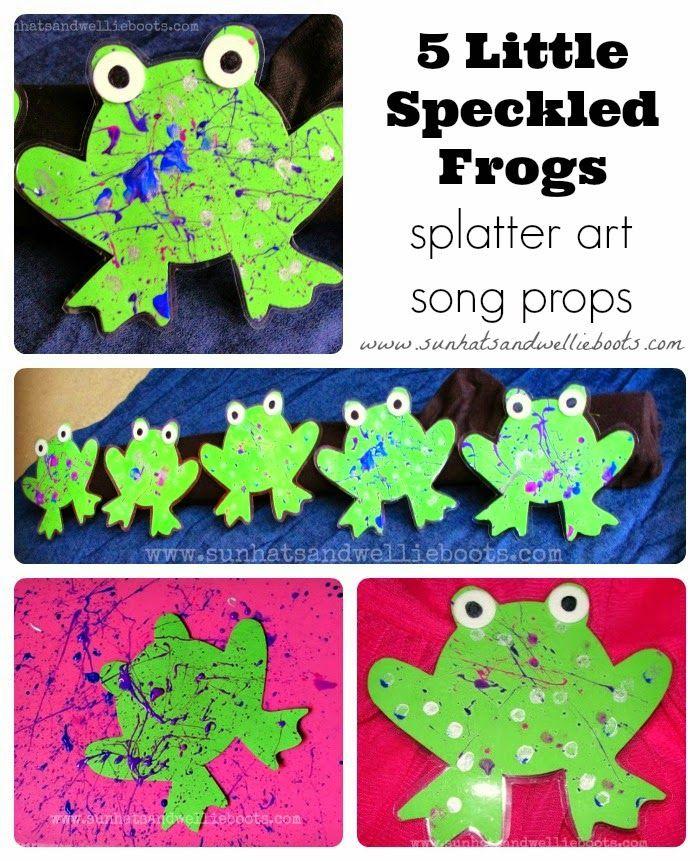 Sun Hats & Wellie Boots: 5 Little Speckled Frogs - Splatter Paint Song Props