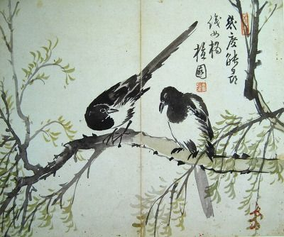 (Korea) Two Magpies by Kim Hong do (1745-18906). color on paper. Gansong gallery, Korea.