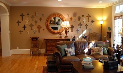 I'm not Catholic but I sure would love to have a wall of crosses in my house!