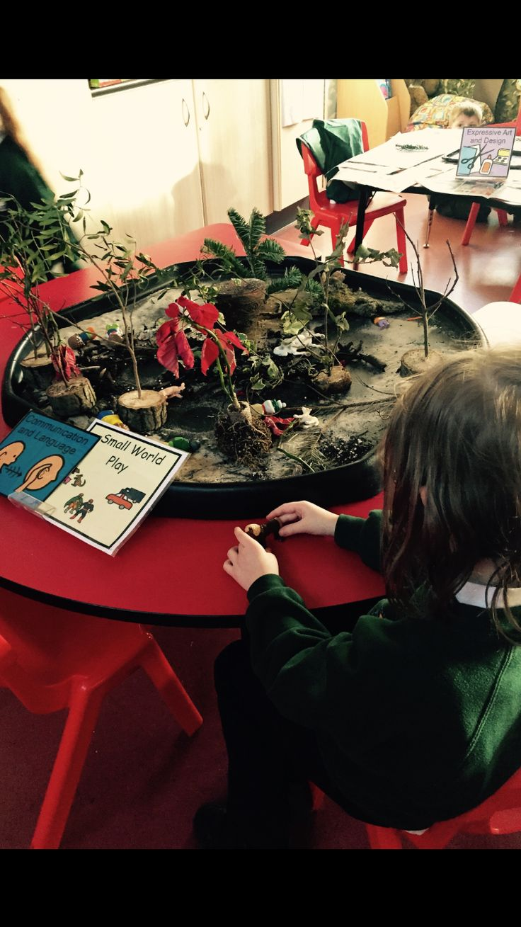 Small world story scene. We added the character from the gruffalos story and children loved acting them out. Great for communication and language!