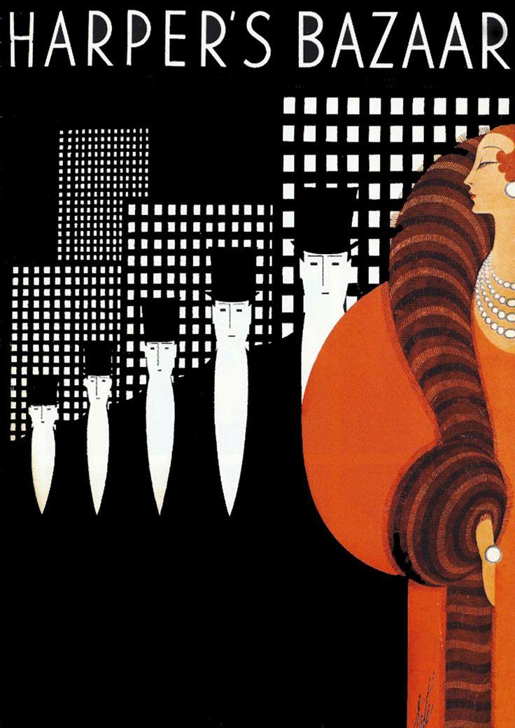 Harper's Bazaar vintage magazine cover ~ Erté Art Deco woman in Fur Stole