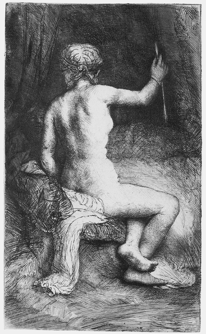 The Woman with an Arrow by Rembrandt van Rij (Cross contour or cross volume)