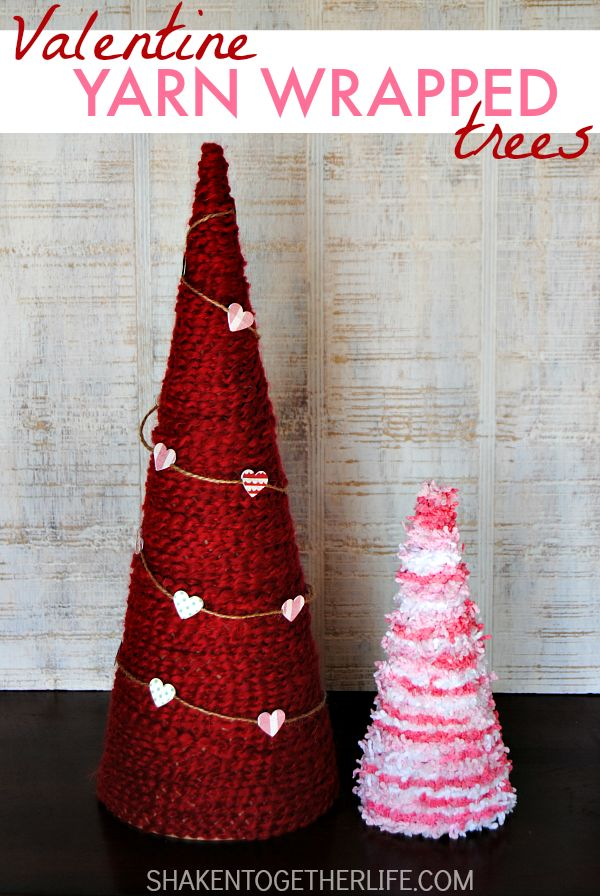 yarn wrapped valentine trees - Homemade Valentine Decorations