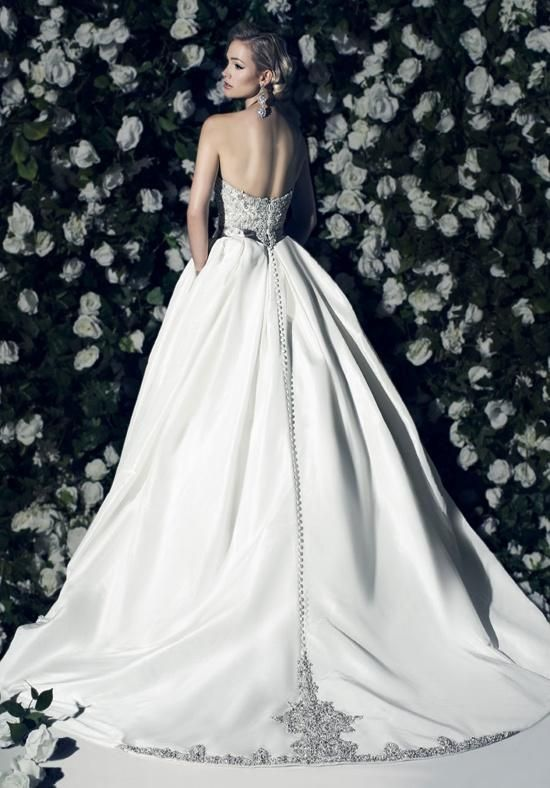 Strapless ballgown with embroidered natural waist bodice, silk Taffeta skirt and embroidered train | Victor Harper Couture | https://www.theknot.com/fashion/vhc296-victor-harper-couture-wedding-dress
