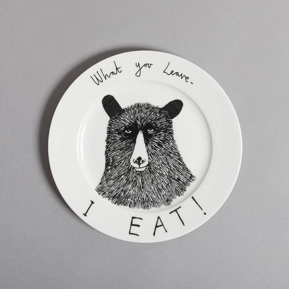 Hungry Bear side plate by jimbobart on Etsy