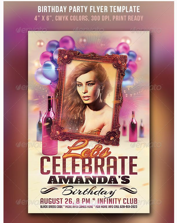 26 best birthday party flyer template images on pinterest