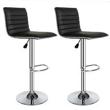 2 Bar stools set faux leather kitchen stool breakfast chair chrome black new