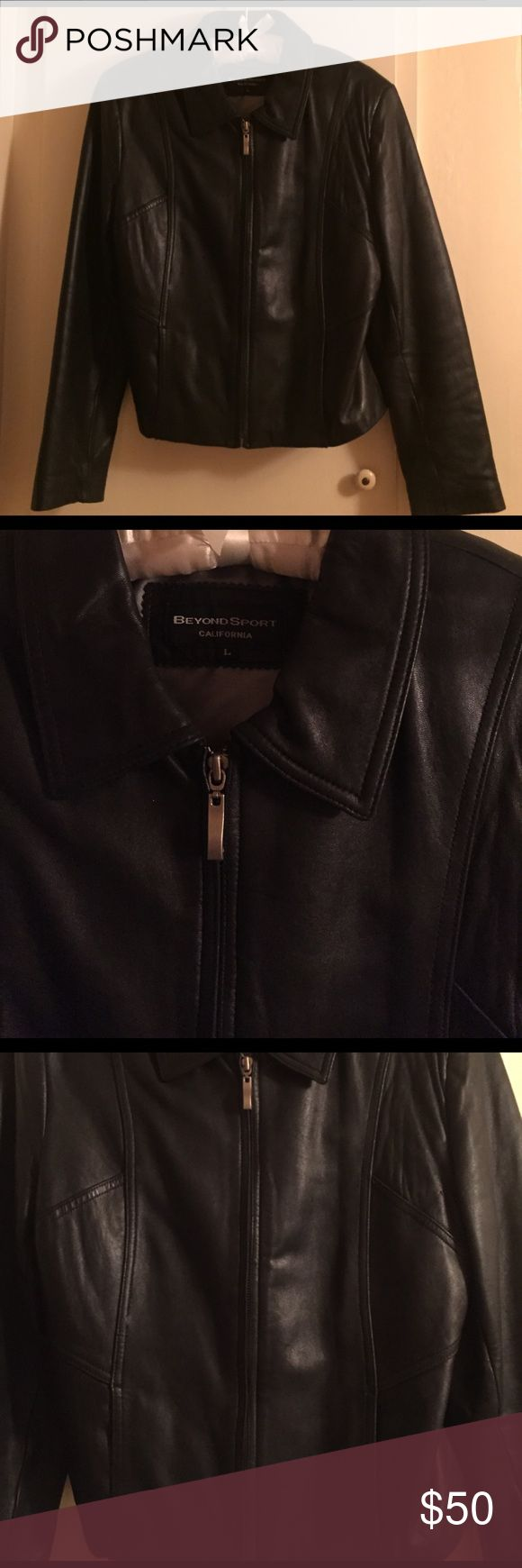 Black leather jacket This short leather jacket feels like butta! Perfect with a pair of slacks and cute shoes for a fun night out! Jackets & Coats