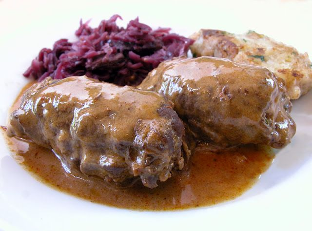 Rouladen, German Beef Rolls--One of Chuck's favorite.  MUST put these on the menu with red cabbage :)
