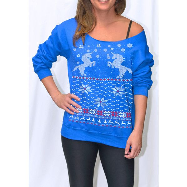 Women's Ugly Christmas Sweater Unicorn Sweatshirt Pullover Raglan... ($19) ❤ liked on Polyvore featuring tops, hoodies, sweatshirts, navy, women's clothing, plus size holiday shirts, plus size long sleeve shirts, oversized long sleeve shirt, long sleeve shirts and navy blue long sleeve shirt