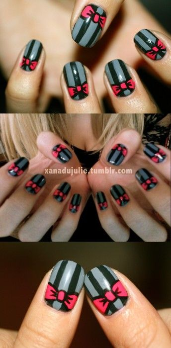 stripy bow nails..... if I you think I'm pinning to much on your board please let me know haha if so I will pin less ....