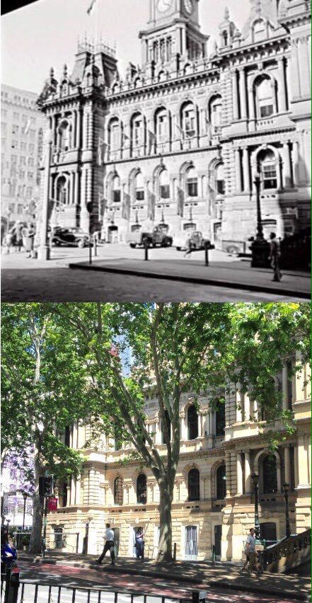 The Druitt Street facade of Sydney Town Hall in 1953 and 2015. [1953 - City of Sydney Archives>2015 - Phil Harvey. By Phil Harvey.]