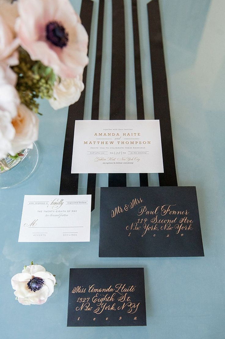 Black and gold wedding invitation envelope addressing