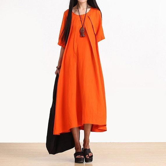 Linge Orange Short Sleeve Round Neck Pleat Neck Dress