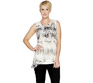 H by Halston Sleeveless Cityscape Print Tunic with Chiffon Overaly