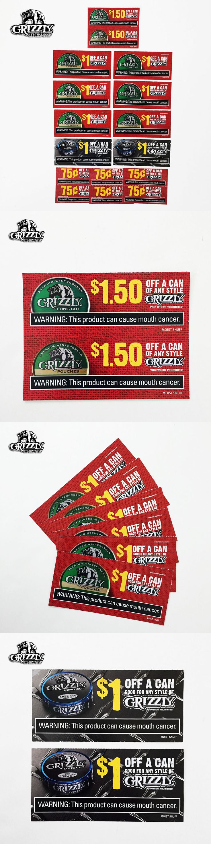 Coupons: Grizzly Tobacco Coupons - $15.50 Savings - Chewing Dip Cigarette -> BUY IT NOW ONLY: $5.99 on eBay!