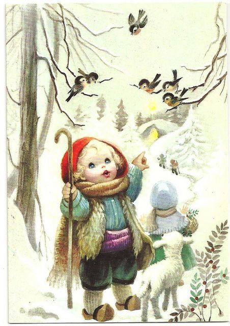 Vintage Christmas card, from cheryldecarteret, via Flickr