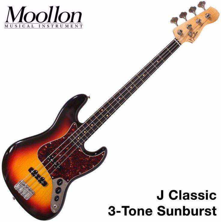 Moollon J Classic Jazz Bass 4 String 3-Tone Sunburst Vintage 60's Sound Ebony #Moollon #JazzBass