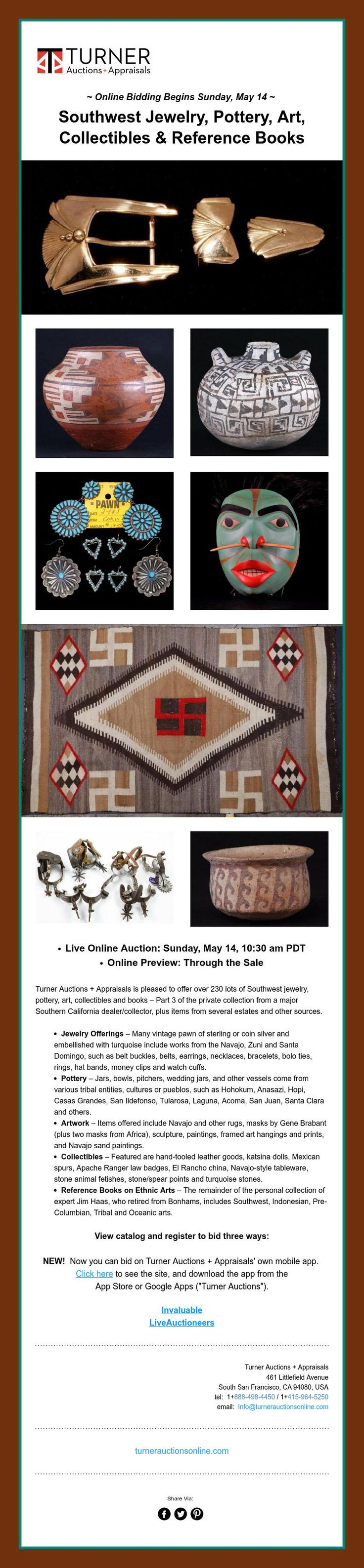 ~ Online Bidding Begins Sunday, May 14~    Southwest Jewelry, Pottery, Art,  Collectibles &Reference Books