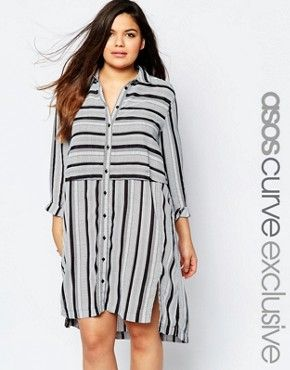 ASOS CURVE Shirt Dress in Stripe and Spot
